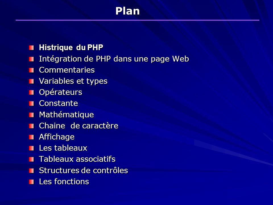 Plan Histrique du PHP Intégration de PHP dans une page Web Commentaries Variables et types OpérateursConstanteMathématique Chaine de caractère Affichage Les tableaux Tableaux associatifs Structures de contrôles Les fonctions