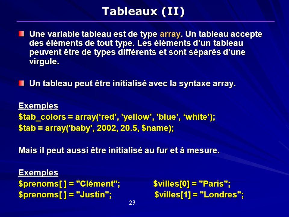 Tableaux (II) Une variable tableau est de type array.