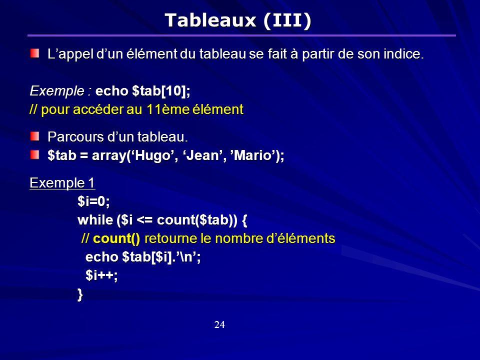 Tableaux (III) Lappel dun élément du tableau se fait à partir de son indice.