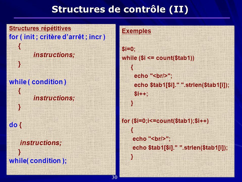Structures de contrôle (II) Structures répétitives for ( init ; critère darrêt ; incr ) { instructions; } while ( condition ) { instructions; } do { instructions; } while( condition ); Structures répétitives for ( init ; critère darrêt ; incr ) { instructions; } while ( condition ) { instructions; } do { instructions; } while( condition ); Exemples $i=0; while ($i <= count($tab1)) { echo ; echo $tab1[$i]. .strlen($tab1[i]); $i++; } for ($i=0;i<=count($tab1);$i++) { echo ; echo $tab1[$i]. .strlen($tab1[i]); } Exemples $i=0; while ($i <= count($tab1)) { echo ; echo $tab1[$i]. .strlen($tab1[i]); $i++; } for ($i=0;i<=count($tab1);$i++) { echo ; echo $tab1[$i]. .strlen($tab1[i]); } 30