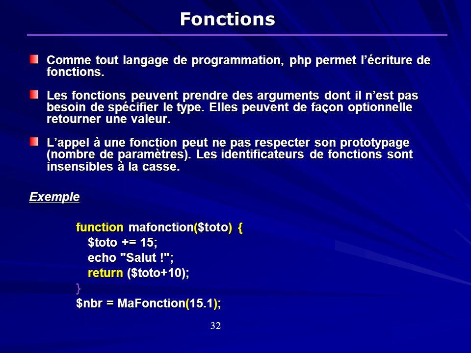 Fonctions Comme tout langage de programmation, php permet lécriture de fonctions.