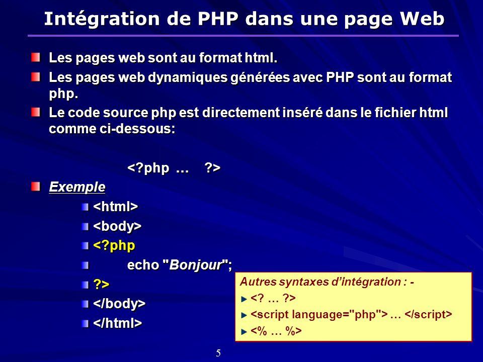 Intégration de PHP dans une page Web Les pages web sont au format html.