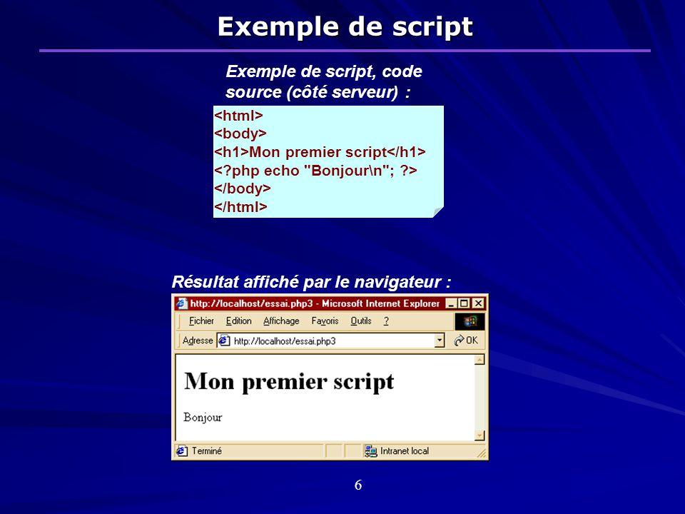 Exemple de script Mon premier script Exemple de script, code source (côté serveur) : Résultat affiché par le navigateur : 6