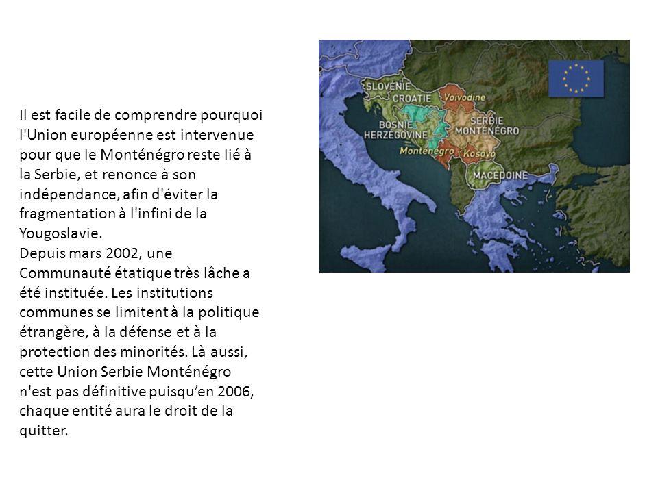 Il est facile de comprendre pourquoi l'Union européenne est intervenue pour que le Monténégro reste lié à la Serbie, et renonce à son indépendance, af