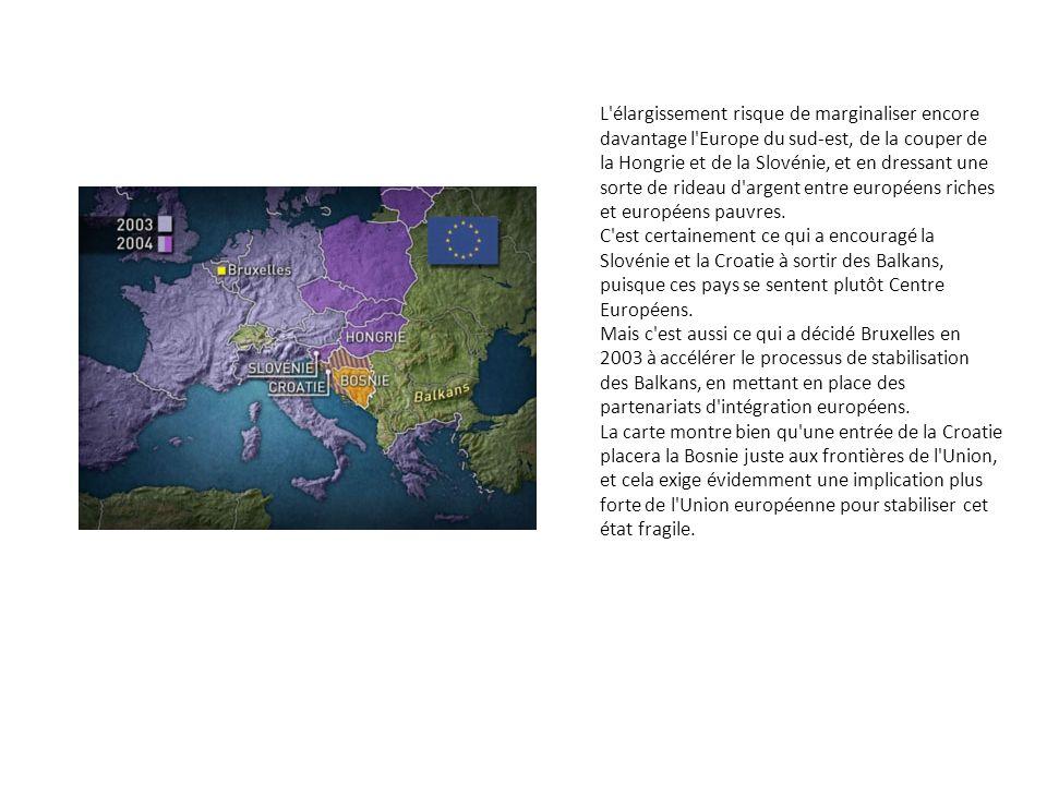 L'élargissement risque de marginaliser encore davantage l'Europe du sud-est, de la couper de la Hongrie et de la Slovénie, et en dressant une sorte de