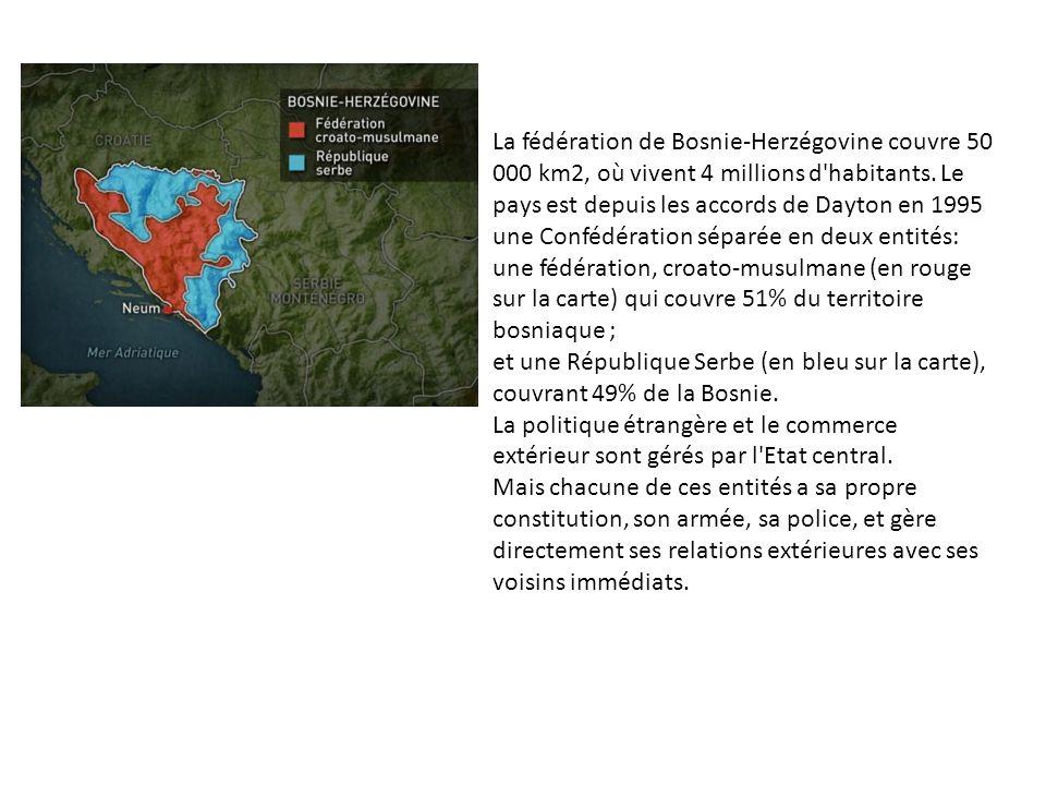 La fédération de Bosnie-Herzégovine couvre 50 000 km2, où vivent 4 millions d'habitants. Le pays est depuis les accords de Dayton en 1995 une Confédér