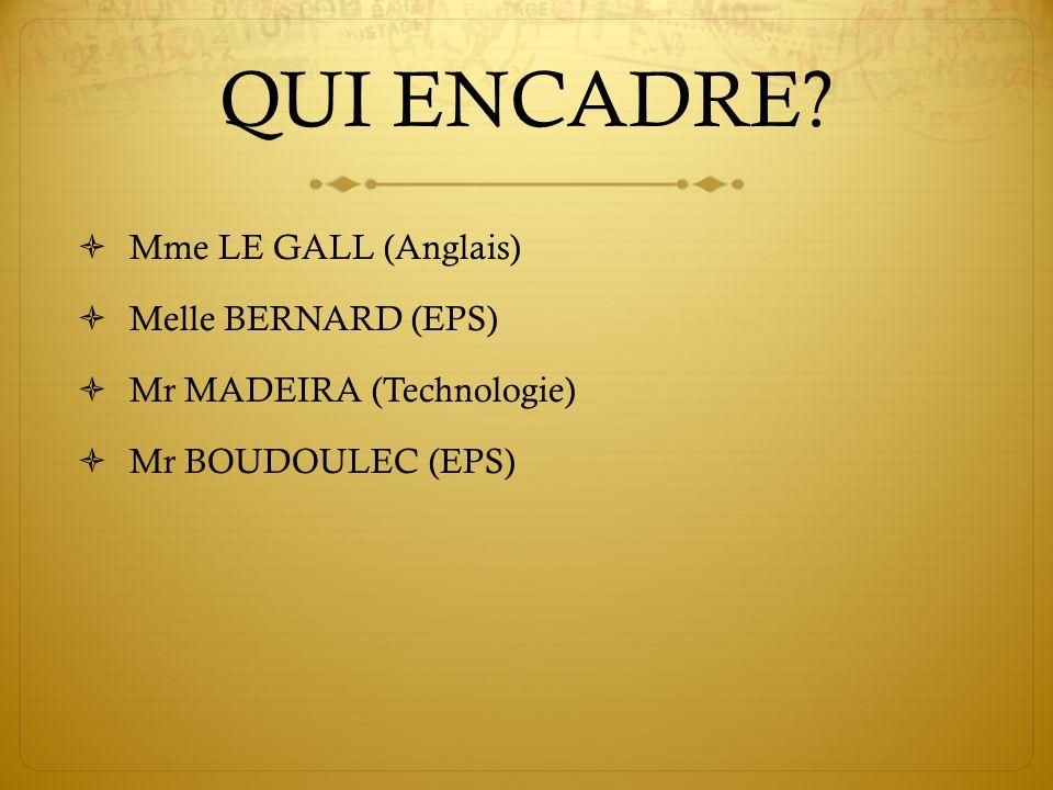 QUI ENCADRE? Mme LE GALL (Anglais) Melle BERNARD (EPS) Mr MADEIRA (Technologie) Mr BOUDOULEC (EPS)