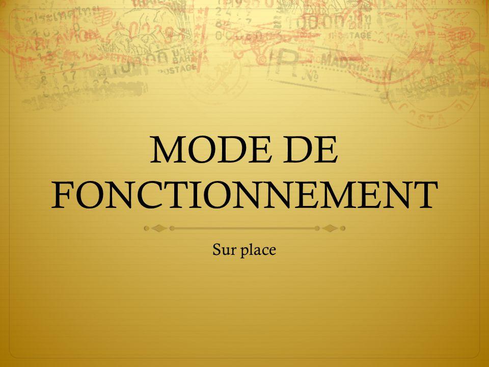 MODE DE FONCTIONNEMENT Sur place