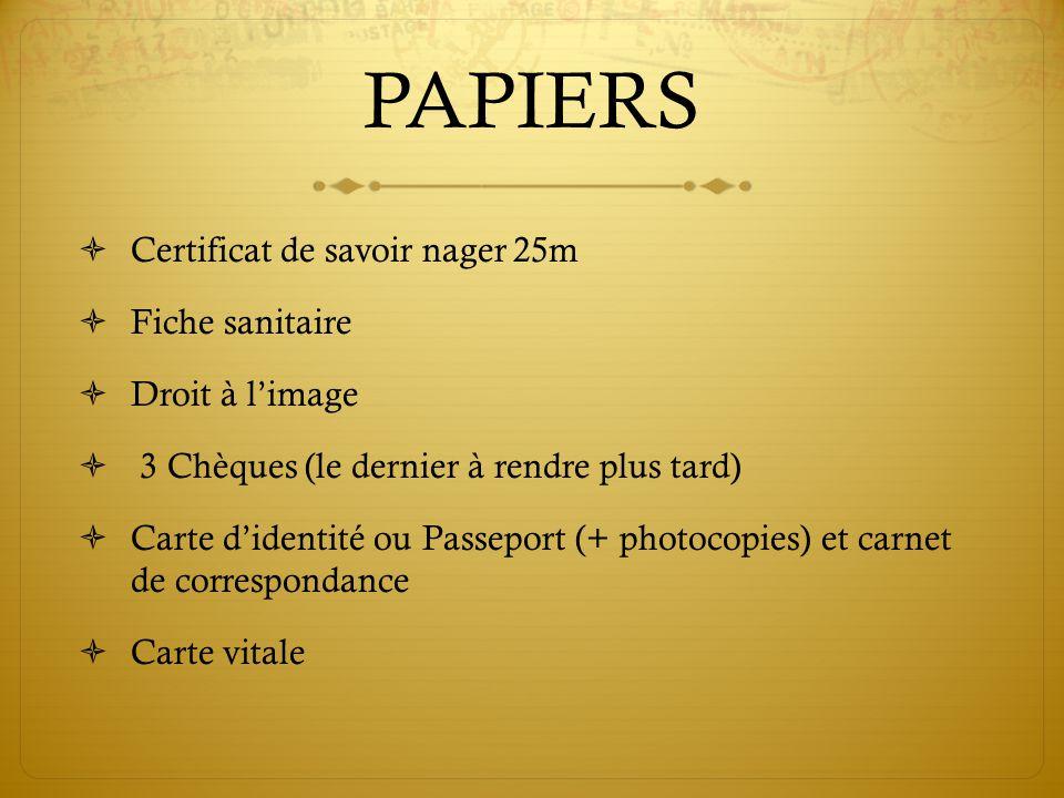 PAPIERS Certificat de savoir nager 25m Fiche sanitaire Droit à limage 3 Chèques (le dernier à rendre plus tard) Carte didentité ou Passeport (+ photoc
