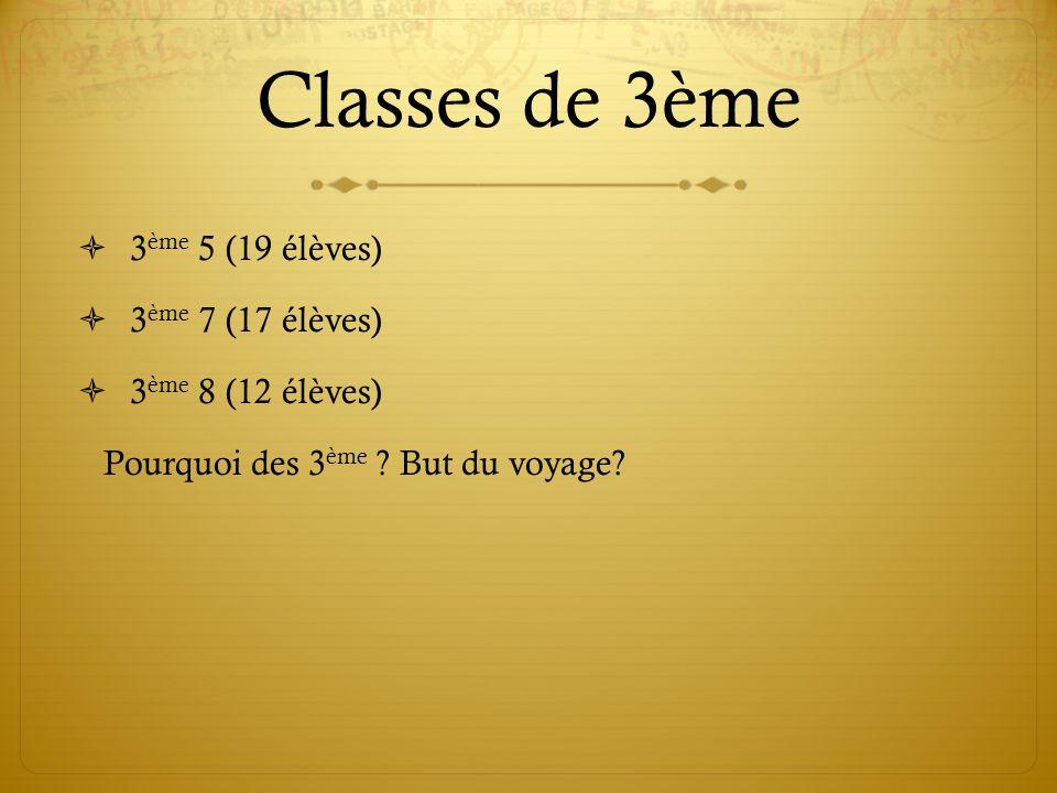 Classes de 3ème 3 ème 5 (19 élèves) 3 ème 7 (17 élèves) 3 ème 8 (12 élèves) Pourquoi des 3 ème ? But du voyage?
