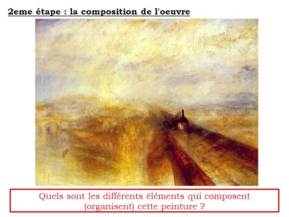 2eme étape : la composition de l oeuvre Quels sont les différents éléments qui composent (organisent) cette peinture ?