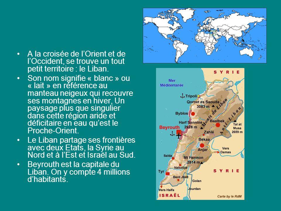 A la croisée de lOrient et de lOccident, se trouve un tout petit territoire : le Liban. Son nom signifie « blanc » ou « lait » en référence au manteau