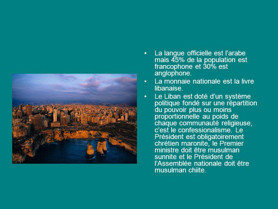 La langue officielle est larabe mais 45% de la population est francophone et 30% est anglophone. La monnaie nationale est la livre libanaise. Le Liban