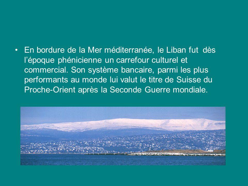 En bordure de la Mer méditerranée, le Liban fut dès lépoque phénicienne un carrefour culturel et commercial.