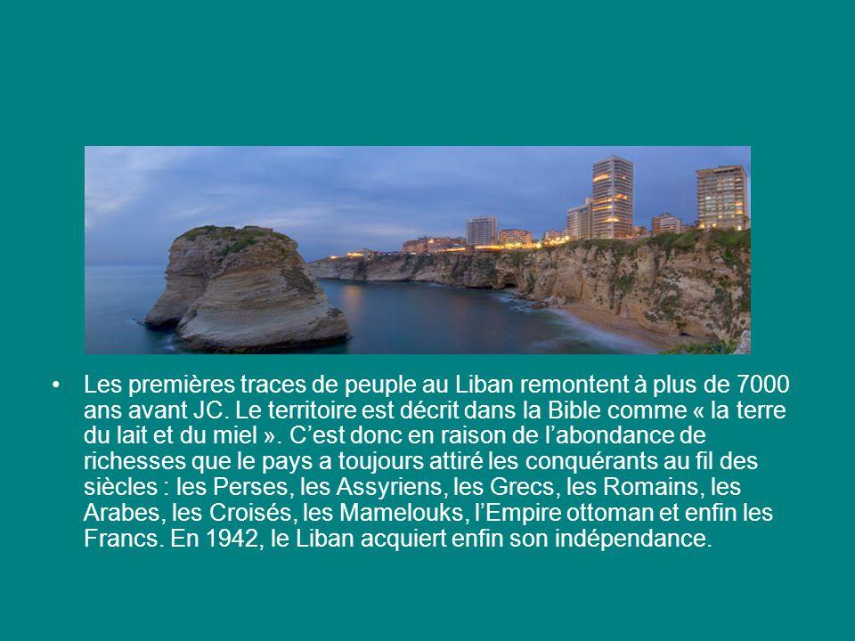Les premières traces de peuple au Liban remontent à plus de 7000 ans avant JC. Le territoire est décrit dans la Bible comme « la terre du lait et du m