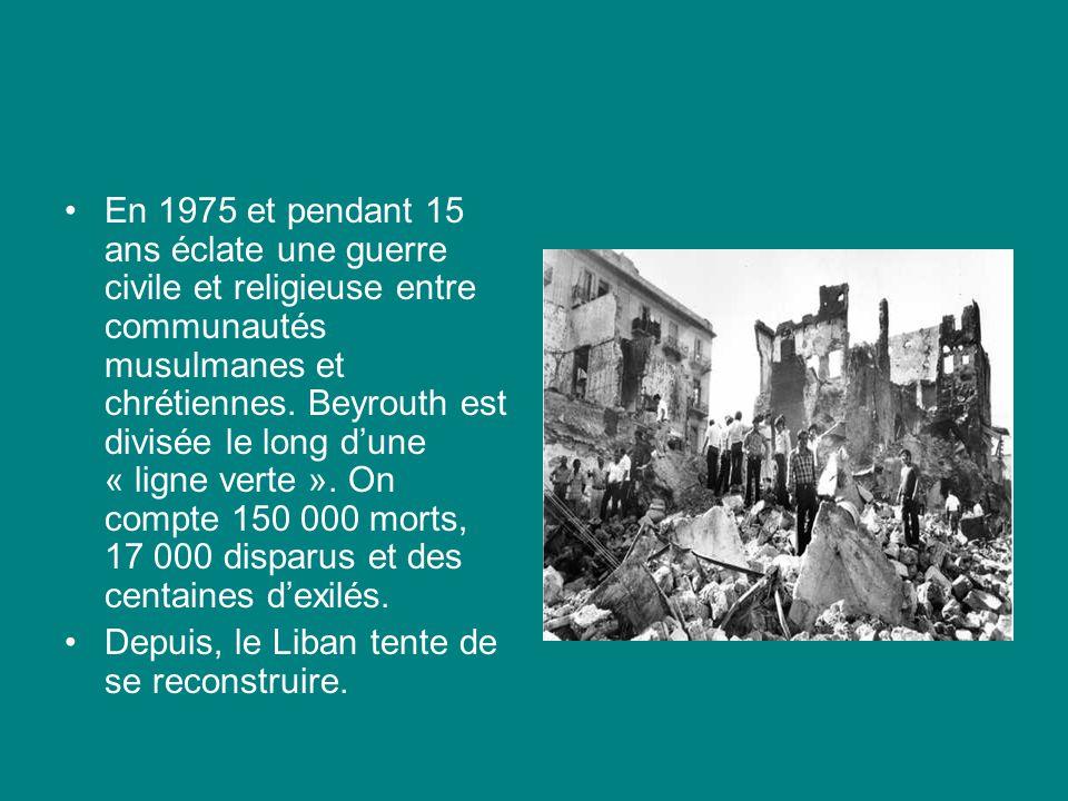 En 1975 et pendant 15 ans éclate une guerre civile et religieuse entre communautés musulmanes et chrétiennes. Beyrouth est divisée le long dune « lign