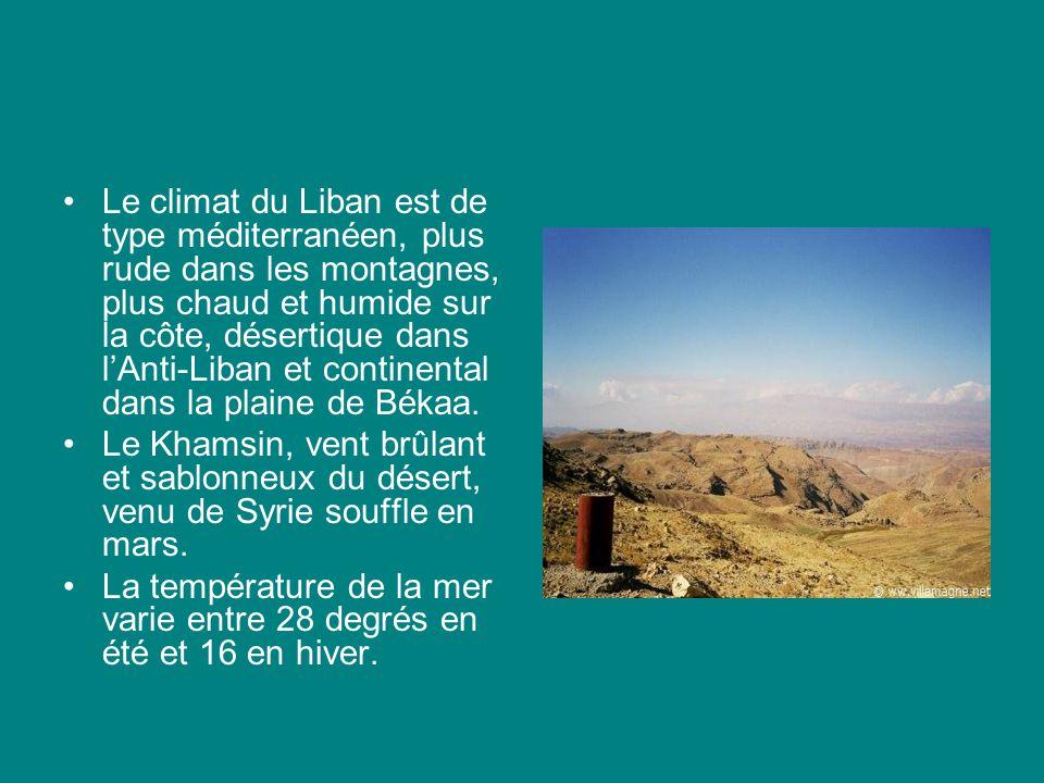 Le climat du Liban est de type méditerranéen, plus rude dans les montagnes, plus chaud et humide sur la côte, désertique dans lAnti-Liban et continental dans la plaine de Békaa.
