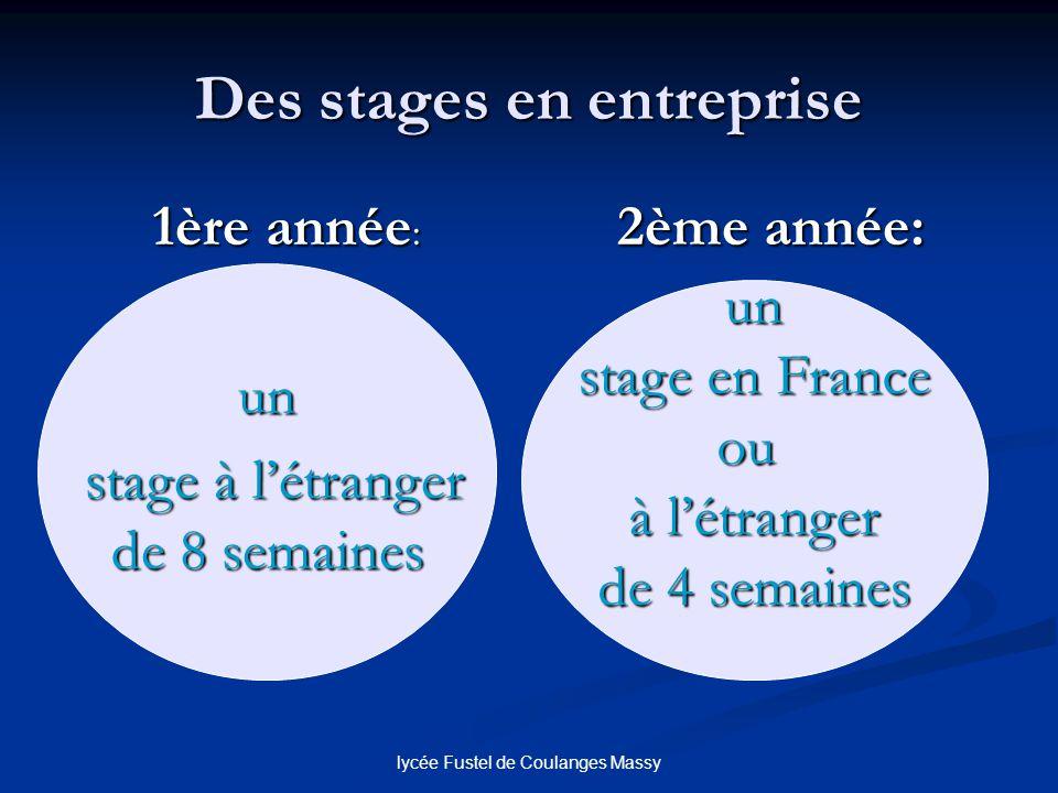 lycée Fustel de Coulanges Massy Des stages en entreprise 1ère année : 2ème année: un stage à létranger stage à létranger de 8 semaines un stage en Fra