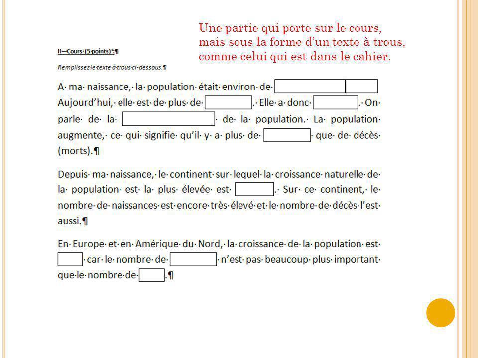 Une partie qui porte sur le cours, mais sous la forme dun texte à trous, comme celui qui est dans le cahier.