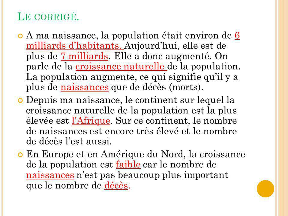 L EXERCICE SUR LA CROISSANCE NATURELLE DE LA POPULATION.