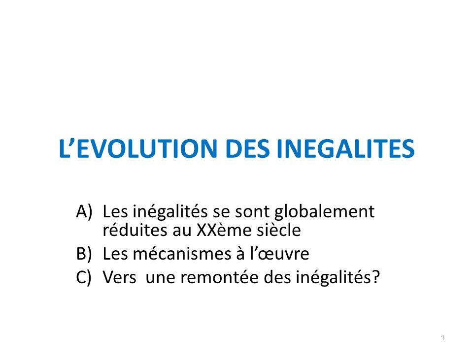 LEVOLUTION DES INEGALITES A)Les inégalités se sont globalement réduites au XXème siècle B)Les mécanismes à lœuvre C)Vers une remontée des inégalités?