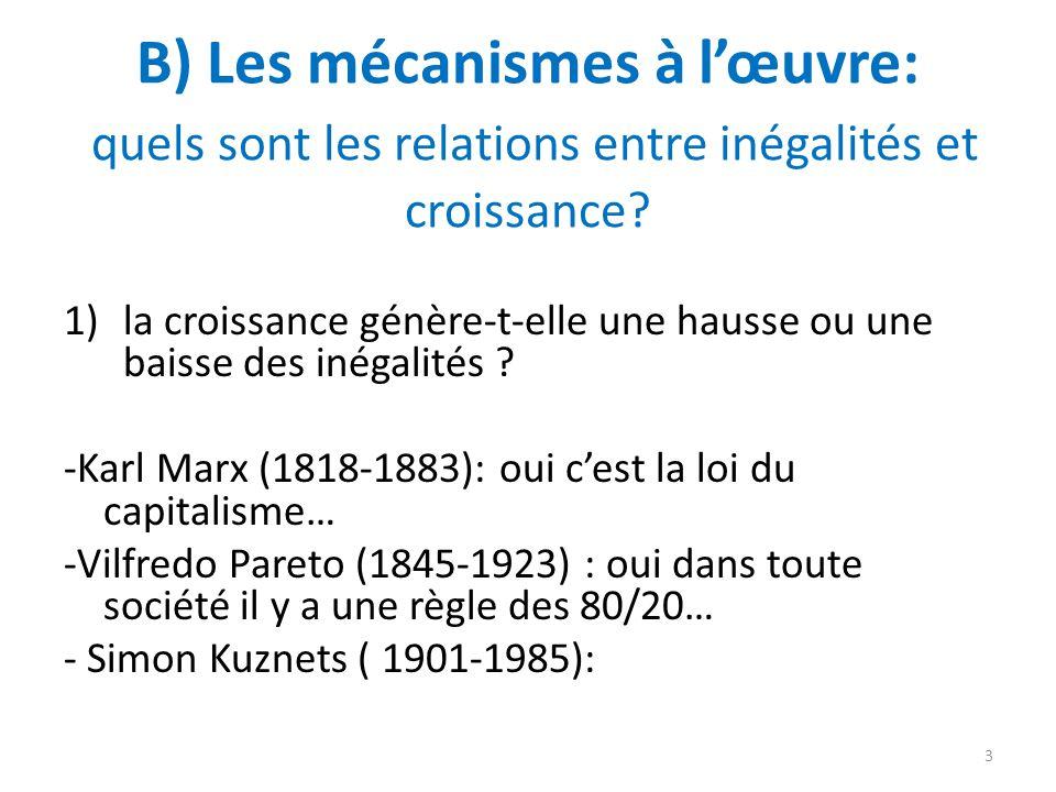B) Les mécanismes à lœuvre: quels sont les relations entre inégalités et croissance? 1)la croissance génère-t-elle une hausse ou une baisse des inégal