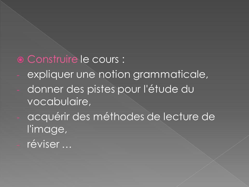 Construire le cours : - expliquer une notion grammaticale, - donner des pistes pour l'étude du vocabulaire, - acquérir des méthodes de lecture de l'im
