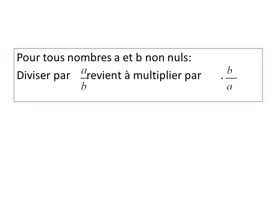Pour tous nombres a et b non nuls: Diviser par revient à multiplier par.