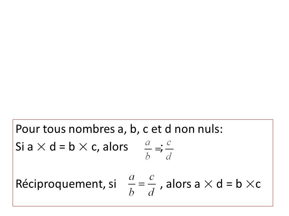 Pour tous nombres a, b, c et d non nuls: Si a × d = b × c, alors ; Réciproquement, si, alors a × d = b ×c