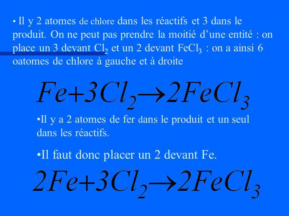 Il y a 2 atomes de fer d ans le produit et un seul dans les réactifs. Il faut donc placer un 2 devant Fe. Il y 2 atomes de chlore dans les réactifs et