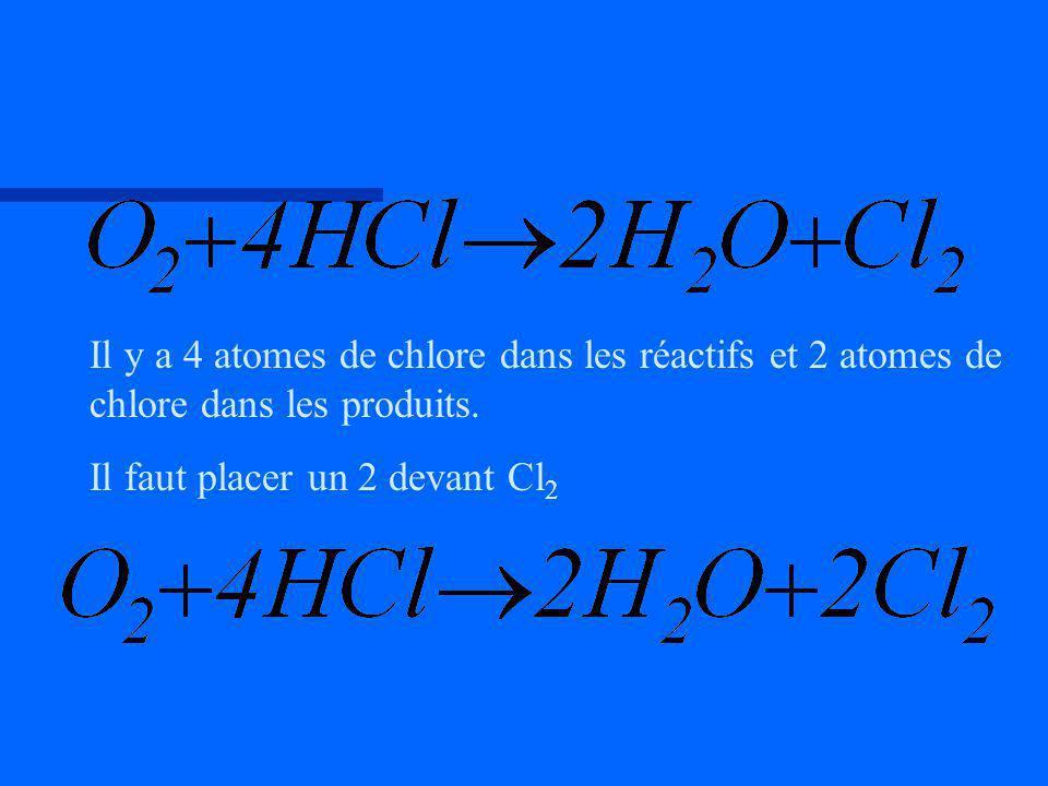 Il y a 4 atomes de chlore dans les réactifs et 2 atomes de chlore dans les produits. Il faut placer un 2 devant Cl 2