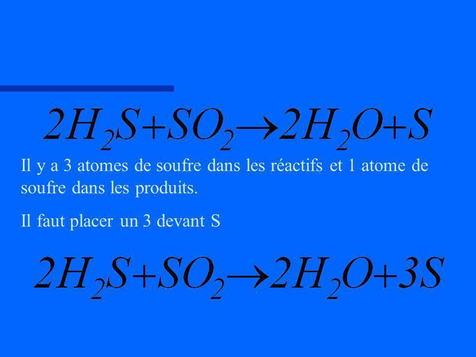 Il y a 3 atomes de soufre dans les réactifs et 1 atome de soufre dans les produits. Il faut placer un 3 devant S
