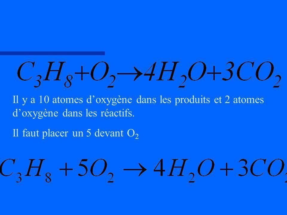 Il y a 10 atomes doxygène dans les produits et 2 atomes doxygène dans les réactifs. Il faut placer un 5 devant O 2