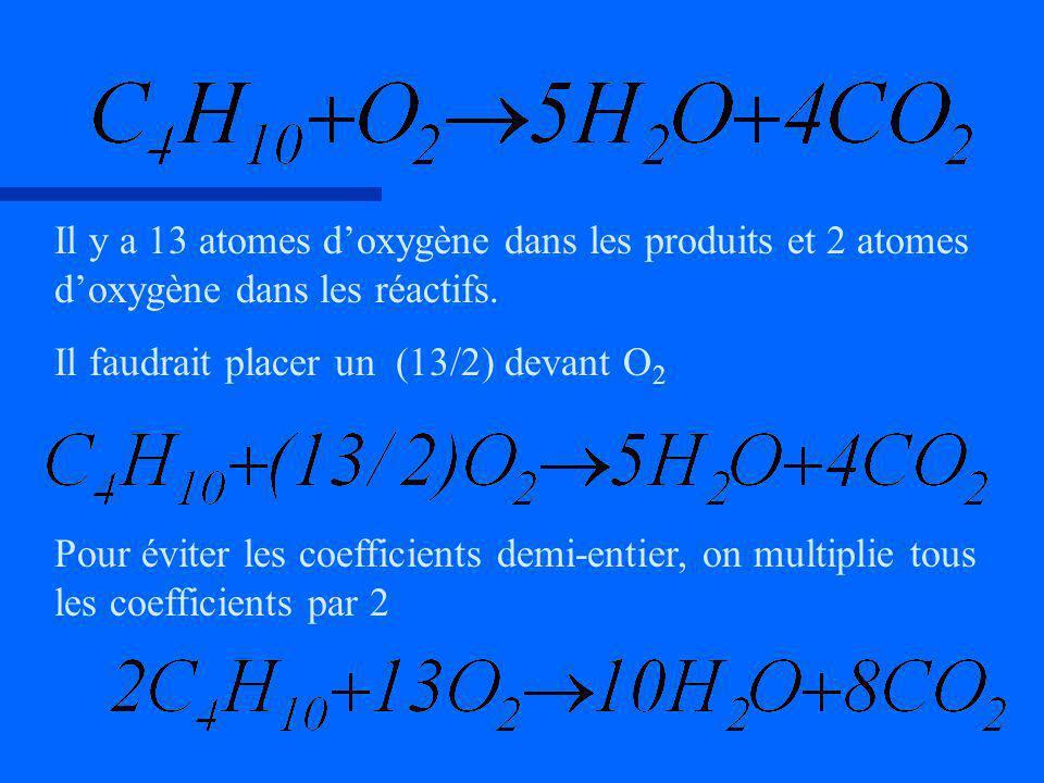 Il y a 13 atomes doxygène dans les produits et 2 atomes doxygène dans les réactifs. Il faudrait placer un (13/2) devant O 2 Pour éviter les coefficien