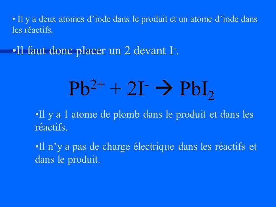 Il y a 1 atome de plomb dans le produit et dans les réactifs. Il ny a pas de charge électrique dans les réactifs et dans le produit. Il y a deux atome