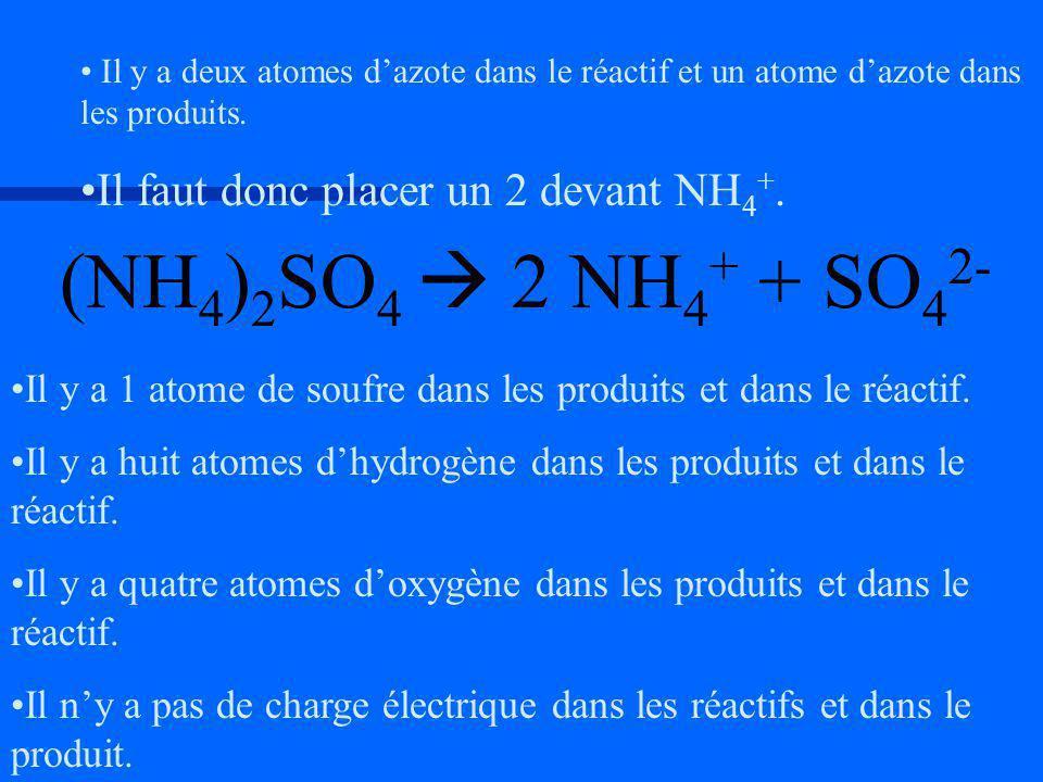 Il y a 1 atome de soufre dans les produits et dans le réactif. Il y a huit atomes dhydrogène dans les produits et dans le réactif. Il y a quatre atome