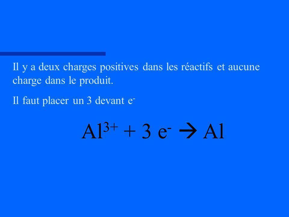Il y a deux charges positives dans les réactifs et aucune charge dans le produit. Il faut placer un 3 devant e - Al 3+ + 3 e - Al