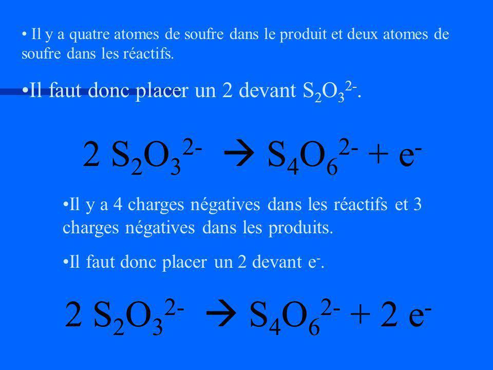 Il y a 4 charges négatives dans les réactifs et 3 charges négatives dans les produits. Il faut donc placer un 2 devant e-.e-. Il y a quatre atomes de