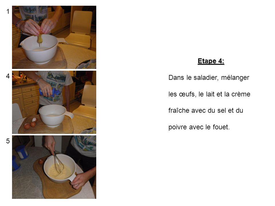 Etape 3: Découper les 4 tranches de jambon en morceau puis les mettre sur la pâte. 1 2