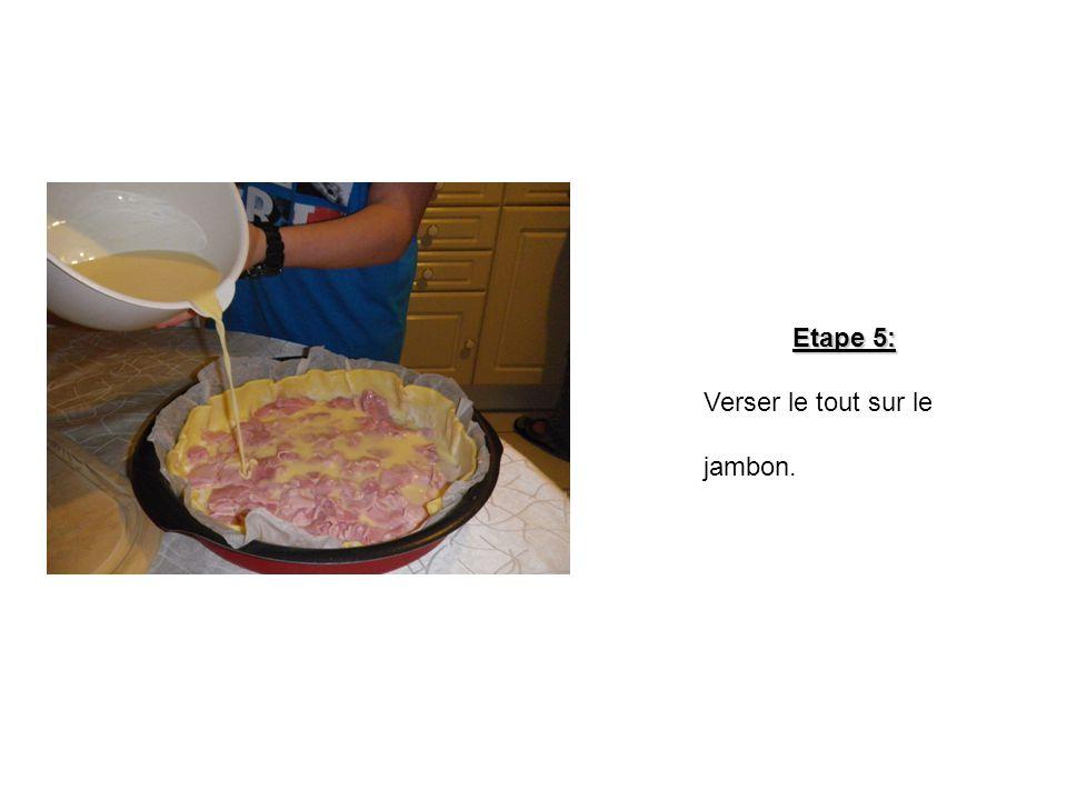 1 4 Etape 4: Dans le saladier, mélanger les œufs, le lait et la crème fraîche avec du sel et du poivre avec le fouet. 5