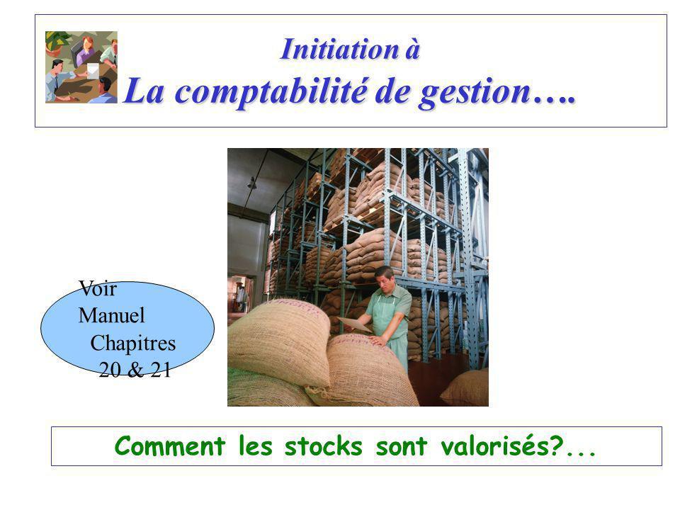 Initiation à La comptabilité de gestion…. Comment les stocks sont valorisés?... Voir Manuel Chapitres 20 & 21