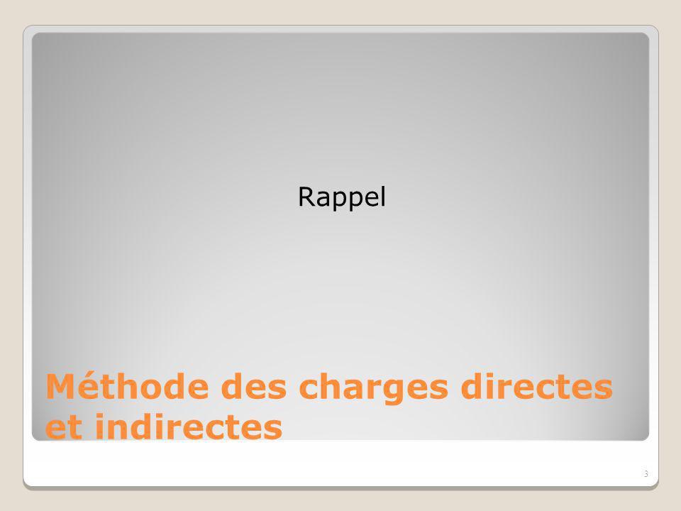 Charges directes Charges indirectes Centre de coût -ou d analyse- (principaux ou auxiliaires) Coût Imputation par les Unités d Oeuvre Affectation des charges incorporables Charges Incorporables