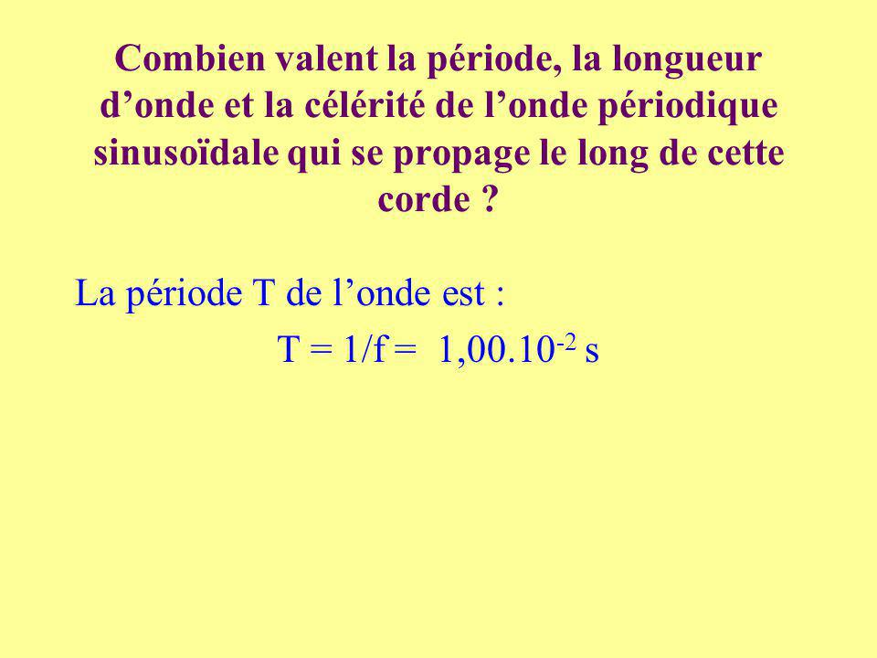 Combien valent la période, la longueur donde et la célérité de londe périodique sinusoïdale qui se propage le long de cette corde .