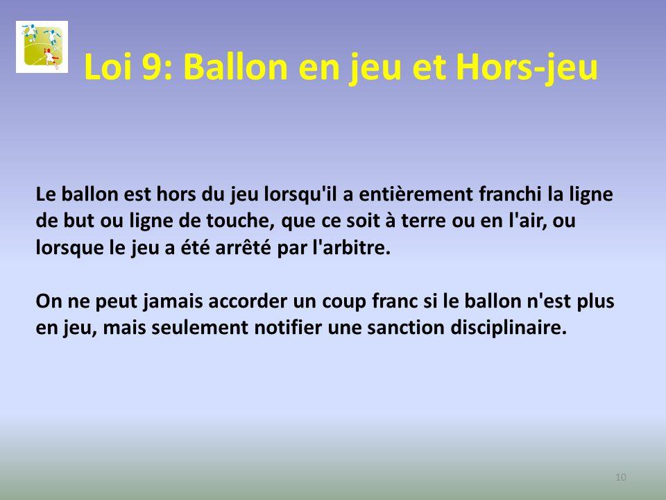 Loi 9: Ballon en jeu et Hors-jeu Le ballon est hors du jeu lorsqu'il a entièrement franchi la ligne de but ou ligne de touche, que ce soit à terre ou