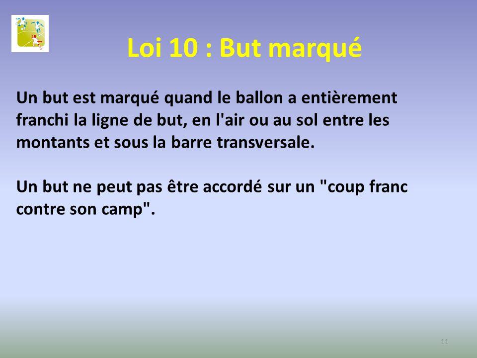 Loi 10 : But marqué Un but est marqué quand le ballon a entièrement franchi la ligne de but, en l'air ou au sol entre les montants et sous la barre tr