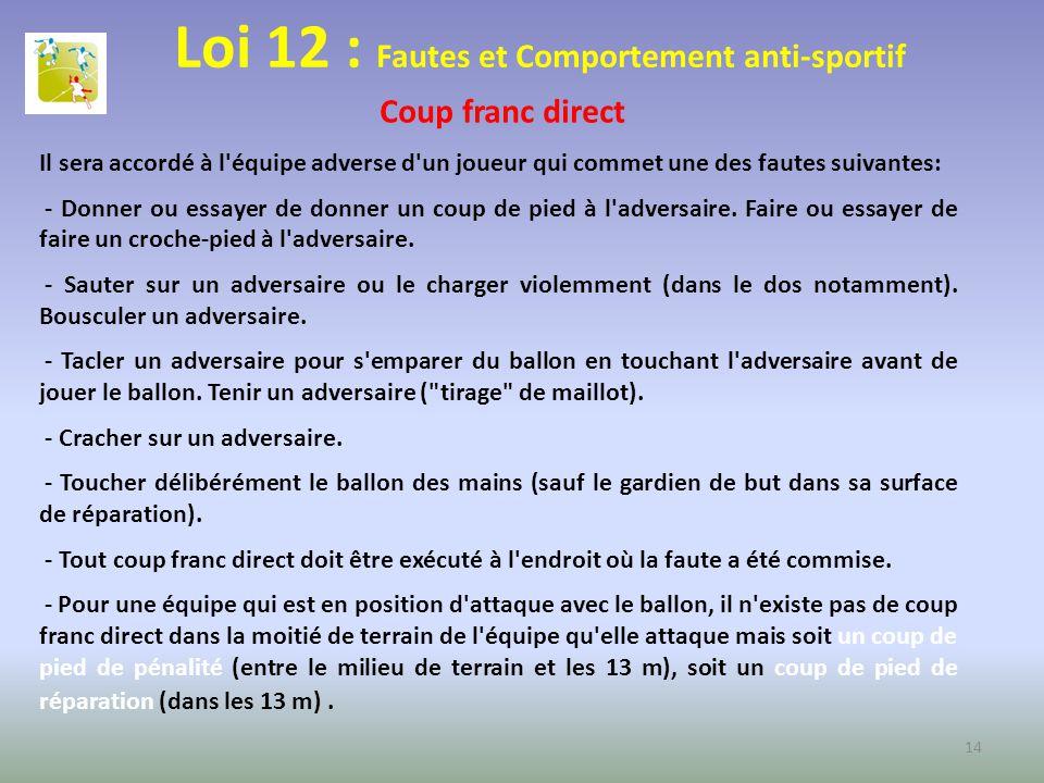 Loi 12 : Fautes et Comportement anti-sportif Coup franc direct Il sera accordé à l'équipe adverse d'un joueur qui commet une des fautes suivantes: - D
