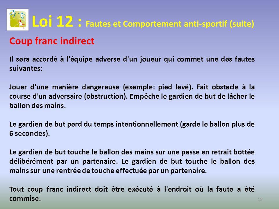 Loi 12 : Fautes et Comportement anti-sportif (suite) Coup franc indirect Il sera accordé à l'équipe adverse d'un joueur qui commet une des fautes suiv