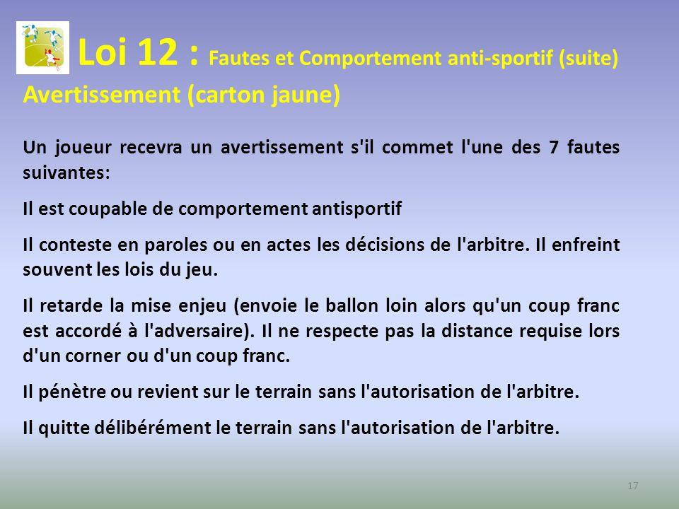 Loi 12 : Fautes et Comportement anti-sportif (suite) Avertissement (carton jaune) Un joueur recevra un avertissement s'il commet l'une des 7 fautes su