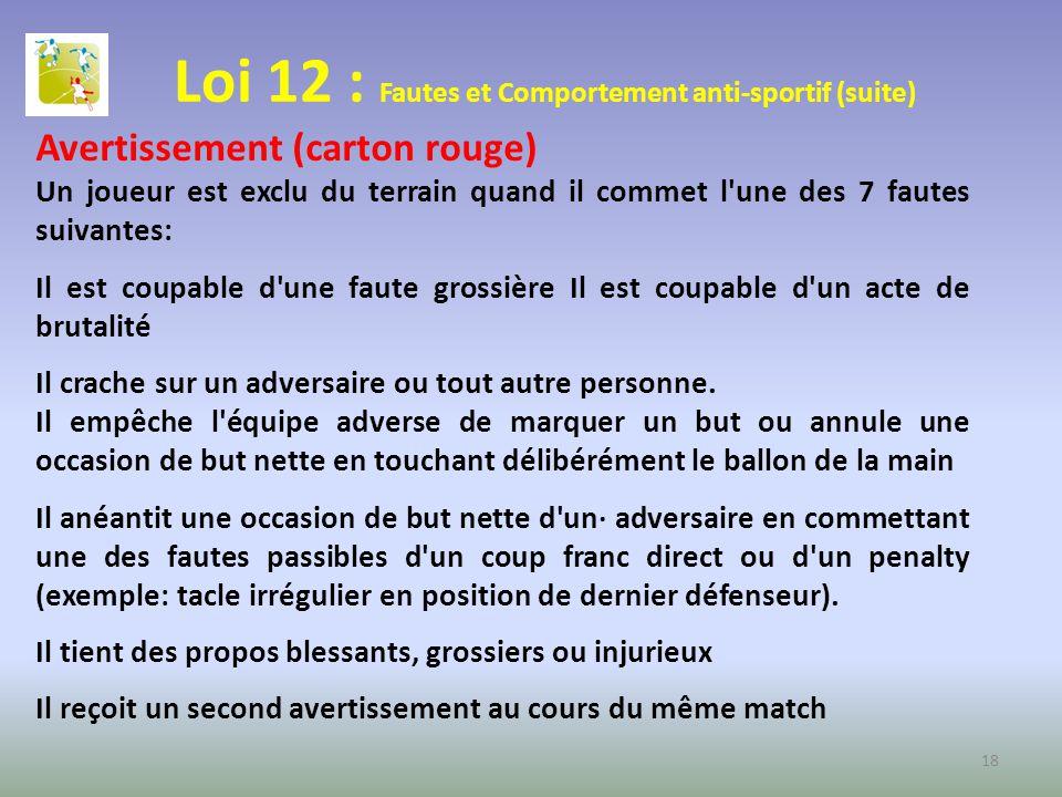 Loi 12 : Fautes et Comportement anti-sportif (suite) Avertissement (carton rouge) Un joueur est exclu du terrain quand il commet l'une des 7 fautes su