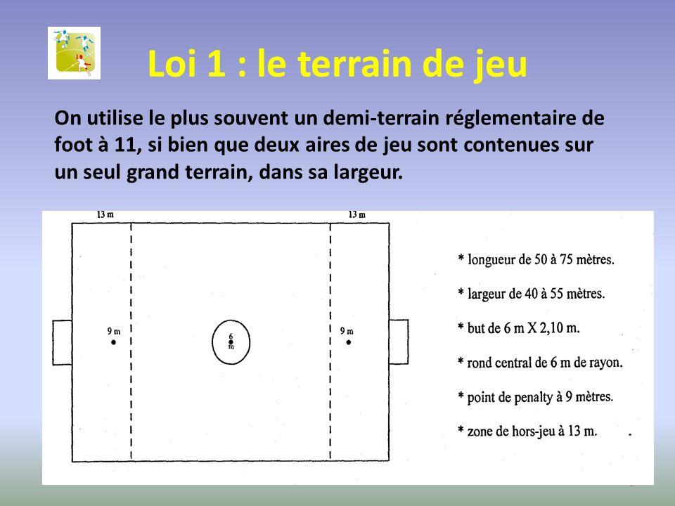 Loi 1 : le terrain de jeu On utilise le plus souvent un demi-terrain réglementaire de foot à 11, si bien que deux aires de jeu sont contenues sur un s